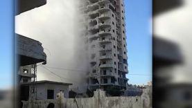 استهداف قوات النظام لبرج الطيارة في حي الوعر بحمص