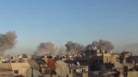 الطيران الحربي يشن غارت عنيفة على مدينة زملكا بريف دمشق