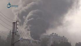حرائق خلفتها الغارات الروسية على مدينة حريتان بريف حلب