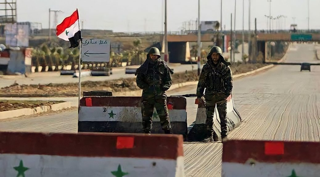 Hezbollah controls a checkpoint of the forth squad in Sayyida Zainab, Damascus