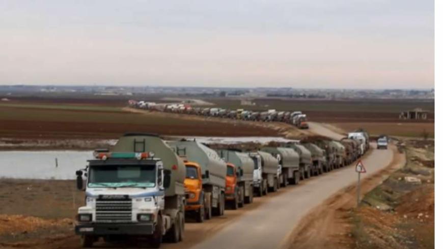 قافلة طويلة من الصهاريج  لنقل المازوت الإيراني من سوريا إلى لبنان
