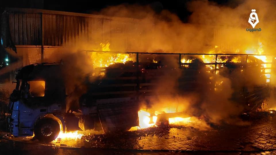 انفجار عبوة ناسفة بسيارة شحن تركية في مدينة الباب